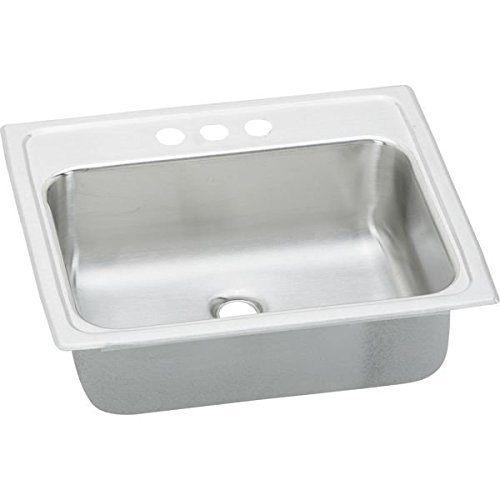 Elkao|#Elkay PSLVR1917LO3 20 Gauge Stainless Steel 19 Inch x 17 Inch x 6.125 Inch single Bowl Top Mount Bathroom Sink, Lustrous Satin, 3 Faucet Holes, - Asana Sink