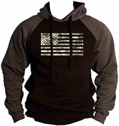 efc87bacb1afe Digital Camo US Flag Men s Black Charcoal Raglan Baseball Hoodie Sweater  Black