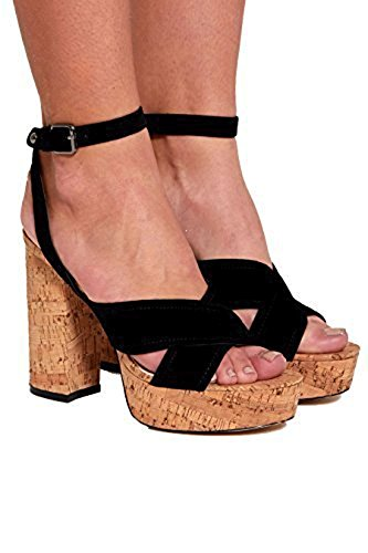 Up Heeled 3 Ladies Uk 8 Divadames Cork Nf079black Pumps Strappy Pom Ankle Womens Platforms Taglia Heels Lace Wedges WFggnp0ZS