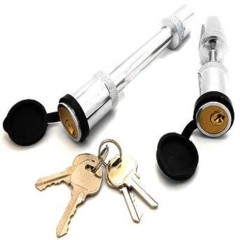 """New Keyed Alike 5//8/"""" Hitch Pin /& 1//4/"""" Trailer Coupler Lock Set Same Key Locking"""