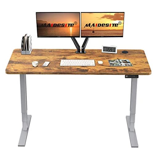 MAIDeSITe Adjustable Height Standing Desk Frame Two-Stage Desk Stand Sit-stand Table Workstation Ergonomic Workplace with Memory Smart Pannel 2 Stage|Dual Motor, White