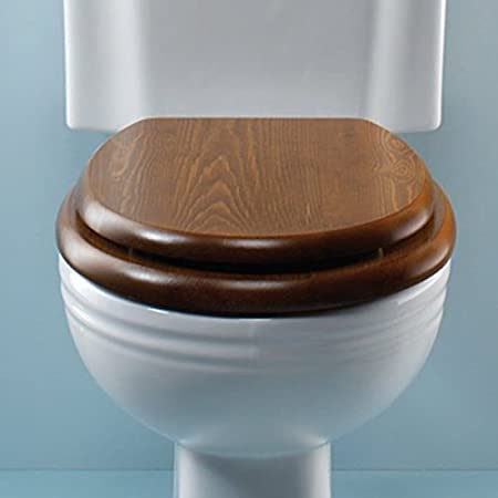 Silverdale Luxury Dark Oak Wooden Toilet Seat With Incalux Hinges