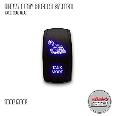 TANK MODE - Blue - STARK 5-PIN Laser Etched LED Rocker Switch Dual Light - 20A 12V ON/OFF: Automotive