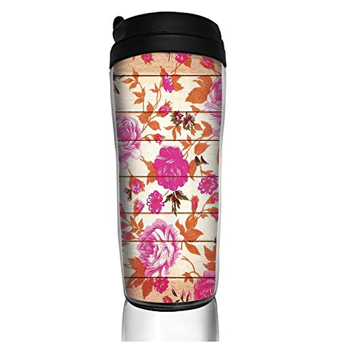 Stainless Steel Insulated Coffee Travel Mug,Color Roses on Wood Background Well Being and Love,Spill Proof Flip Lid Insulated Coffee cup Keeps Hot or Cold 11.8oz(350 ml) Customizable ()