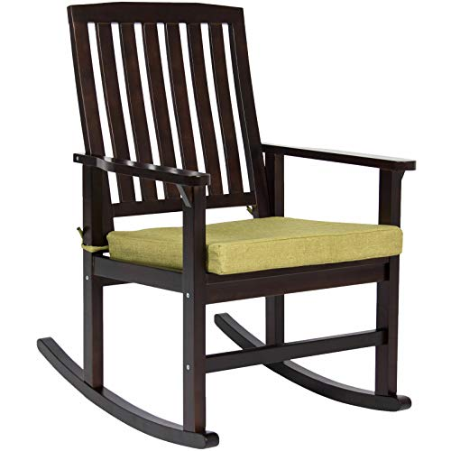 AK Energy Hard Wood Old Fashioned Patio Deck Rocking Chair Furniture w/Foam Cushioned Seat