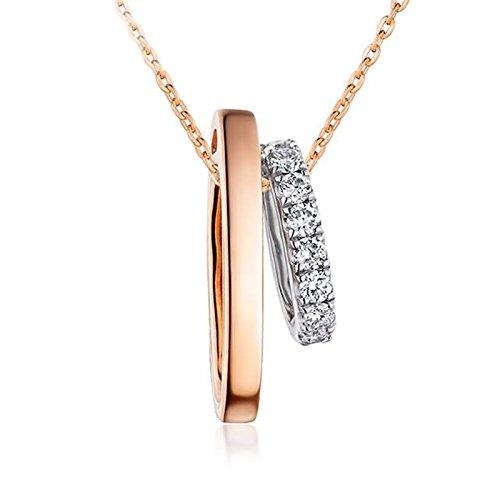Adisaer 18k(750) Rose Gold Women Necklace Double Two-tone Round Pendant Round Diamond Wedding Necklace by Adisaer