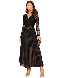 SOLY HUX Vestido de Encaje Elegante con abalorio de Malla Transparente para Mujer
