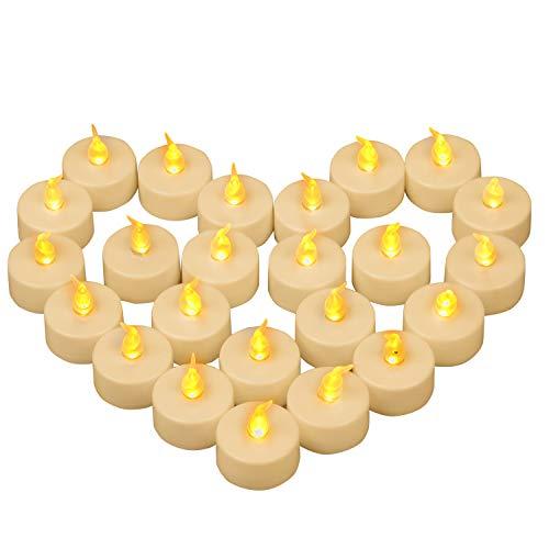 Yooyee LED Kerzen 24 Stück Flammenlose Teelichter,Flackern Tealights,Elektrische Kerze Lichter CR2032 Batteriebetrieben Teelicht für Halloween Weihnachten Party Dekoration - Warmes Gelb