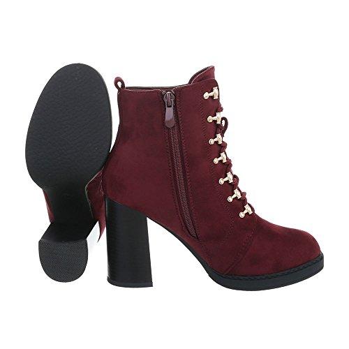 Damenschuhe Schnürstiefeletten Schnürer 0 Design Pump Schnürstiefeletten Ital Stiefeletten Weinrot Reißverschluss 195 nxgW4R