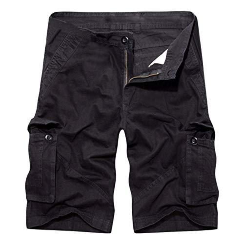 Noir Pur Coton poches Homme Mode Salopette Nouveau Multi Pantalon De Été Shorts HUPpwUx