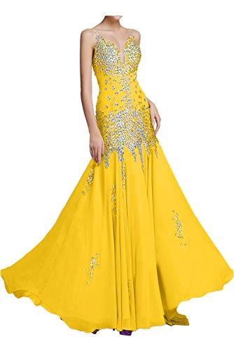 Ballkleid aermellos Meerjungfrau Elegant Ivydressing Chiffon Partykleid Gold Steine zwei Traeger V Bodenlang Abendkleid mit Ausschnitt Festkleid fEWn7qAW