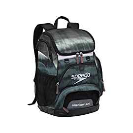 Speedo Large Teamster Backpack, 35-Liter 168 Classic iconic shape and styling with new and improved quality and features Built in laptop sleeve with water resistant bottom to protect PC when pack dropped or sitting on the ground Durable exterior shell; built tough with abrasion resistance for demanding athletes