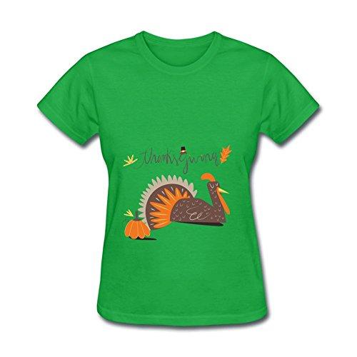 TSHIRT COLOR Women's Thanksgiving Holiday Cartoon Turkey Pumpkin Short Sleeve T-shirt Forest Green L (Top Halloween Pumpkin Carvings)