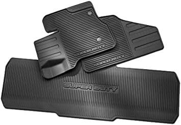 Amazon Com Ford 2011 2012 Super Duty All Weather Vinyl Floor Mats Black Crew Cab Automotive