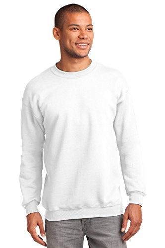 Port & Company Men's Tall Ultimate Crewneck Sweatshirt 3XLT White
