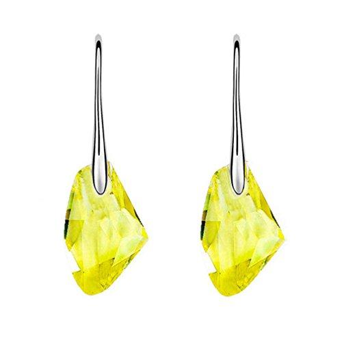 (Crystal Rhinestone Earrings,Hemlock Wedding Earrings Diamond Ear Studs Jewelry (Yellow))