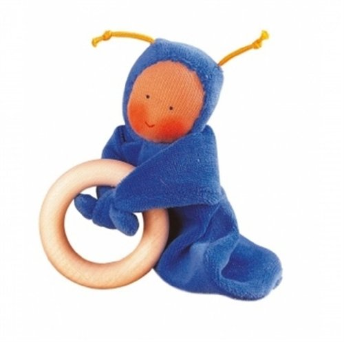Doll Baby Ring Teething - Kathe Kruse - Rainbow Baby Grabbing Ring Doll, Blue