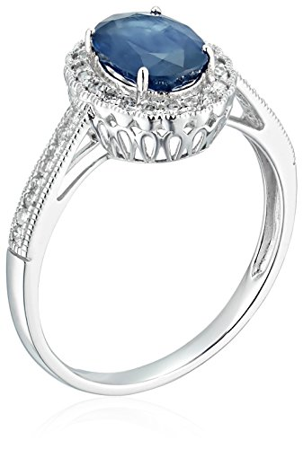14k White Gold Oval Genuine Blue Sapphire Diamond Halo Pave Engagement Ring (1/5 cttw, I J Color, I2 I3 Clarity), Size 7
