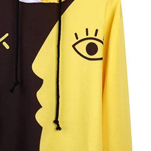 Sweats Couleur pour à large 3x Design Zhrui taille femmes jaune manches imprimé longues à capuche vq1Wdw