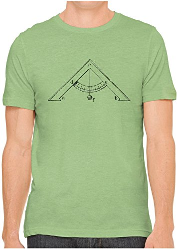 Unisex Mens Old Leveling Tool Diagram Hand Screen Printed Fitted Cotton T-Shirt, Leaf Green, X-Large