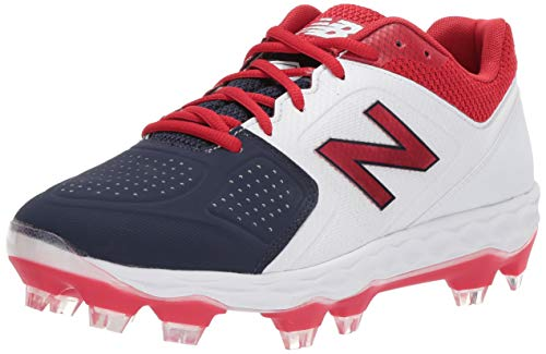 - New Balance Women's Velo V1 Molded Baseball Shoe, red/White/Blue, 8.5 B US