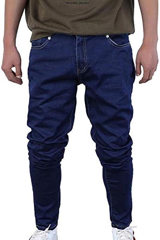 YangPP męskie dżinsy rurkowe ze ściągaczem Slim Denim Jogger Stretch Męskie Jean ołÓwkowe spodnie niebieskie męskie dżinsy swobodne: Sport & Freizeit