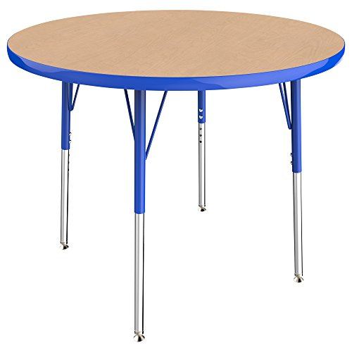 ECR4Kids T-Mold 36'' Round Activity School Table, Standard Legs w/ Swivel Glides, Adjustable Height 19-30 inch (Maple/Blue) by ECR4Kids