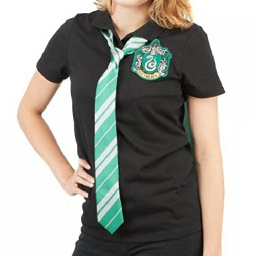 [Harry Potter Slytherin Caped Polo with Tie Juniors T-shirt (X-Large)] (Sorcerer Costume For Men)