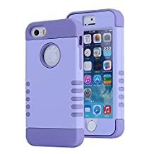 iPhone SE Case, Asstar [Stand Feature] Durable Soft TPU+PC 3 in 1 Hybird Hard Back All-round Protection Case Suitable for iPhone SE / 5S / 5 (Purple+purple)