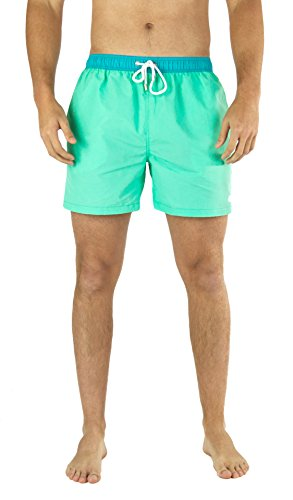 Mens Swim Trunks - LiquidWild - Comfortable Quick Dry - Above Knee - Elastic Waist - Great for Swimming, Vacation & Gym - Swim Shorts For Men, Boys, Teens (Medium, Seafoam & Teal Waist)
