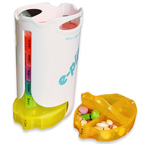 Tower 7 Day x 4 Pill Box - Weekly Pill Box Pill Organizer Pill Case System for Medications, Supplements, and Vitamins. Pill Splitter Pill Cutter included.