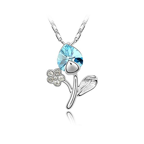 Gorgeous Jewelry Light Blue Heart Crystal Diamond Accented Flower Pendant