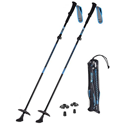 HUKOER Trekking Poles Aluminum Ski Poles Walking Sticks Adjustable 42