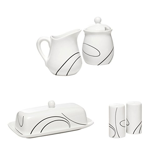 Corelle Simple Lines Accessories 3 Set Bundle - Butter Dish, Salt and Pepper Shakers, Sugar and Creamer