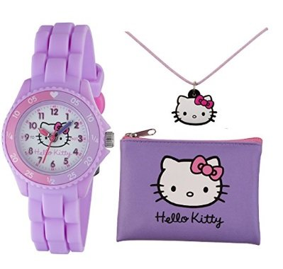 Price comparison product image Hello Kitty Girls Lilac Time Teacher Watch Silicone Strap with Necklace & Purse