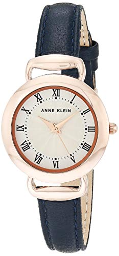 Anne Klein Women's Rose Gold-Tone and Navy Blue Leather Strap Watch, AK/3830RGNV