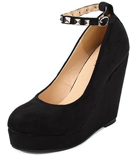 Nero Shoes Donna Punta Scarpe Plateau con AgeeMi Zeppa col Tonda Donna Tacco SUqWPCn