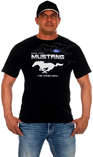 JH Design Men's Ford Mustang Collage Short Sleeve Black Crew Neck T-Shirt (2X, CLG0-Black)