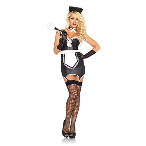 Leg Avenue Women's 4 Piece Man Stealing Maid Costume, Black/White, Medium