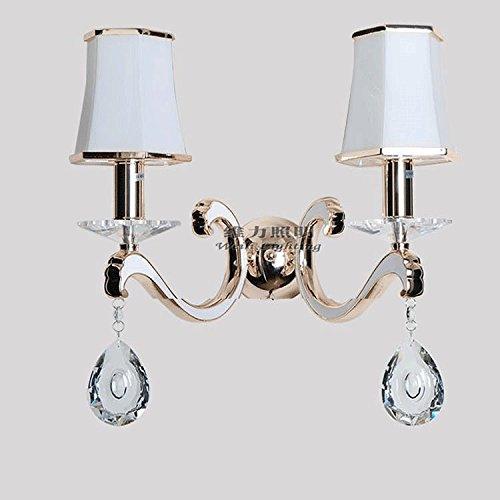 Europäischen Glas Lampenschirm Flur Wand Wandleuchte Schlafzimmer Nachttische chrom-gold Balkon Wand Licht Modern 2 Heads-