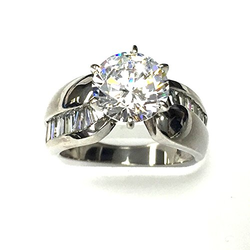 Sterling Silver Rhodium Plated Round CZ Ring with Bagette CZ down the Side.