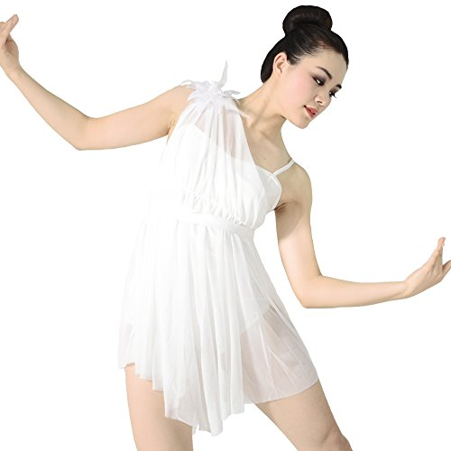 Gold Lyrical Dance Costumes (MiDee Lyrical Dress Dance Costume One Shoulder Pleats Camisole Triangle Skirt (SA, White))