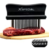 Black 48 Blade Meat Tenderizer Tool  TRY IT NOW, Taste The Tenderness or REFUNDED! Kitchen Accesories Tenderizers Stainless Steel Needle. Best Gadget For Tenderizing, BBQ, Marinade & Flavor Maximizer