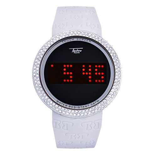 Digital Touch Screen Watches Iced Out Bling Silver White Silicone Band WR 7373 SW