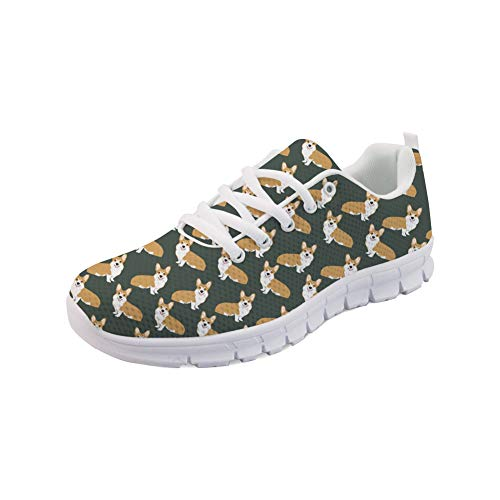 Sneakers Casual Corgi Running Women Lace Fashion Coloranimal Pattern Walking up Flats FZawnqxt8