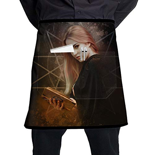 A Glamorous Witch Holding A Magic Book For Halloween BBQ Waiter Housekeeper Pet Grooming Bartender Kitchen Beautician Hairstylist Nail Salon Carpenter Shoeing Wood Painting Artist Pocket Half Apron -