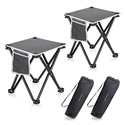 TRIPLE TREE 2 Pack Camping Stool, 13.8 Inch Portable Folding Stool for Outdoor Walking Hiking Fishing 400 LBS Capacity with Carry Bag
