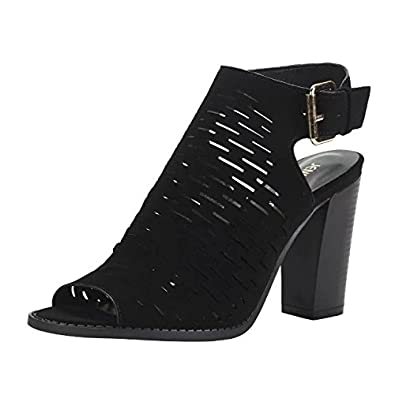 a49b480fd1d4 JENN ARDOR Women s Ankle Open Toe Cutout Heeled Sandals Slip On Low Stacked Heel  Open Peep