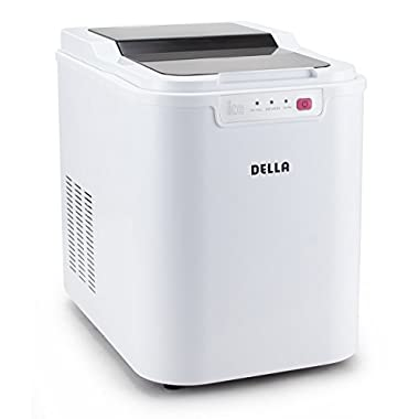 Della© Ice Maker Electric Machine Countertop Cube Size Easy-Touch Buttons Yield Up To 26 Pounds of Ice Daily, White