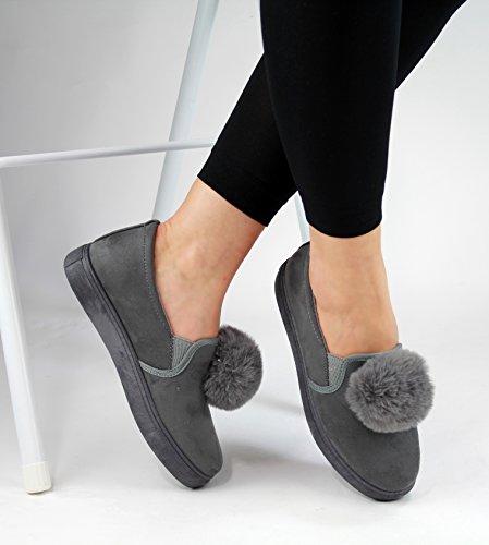 New Womens Pom Pom Suede Style Flat Trainers Pumps All Grey LSiRRnlz5U